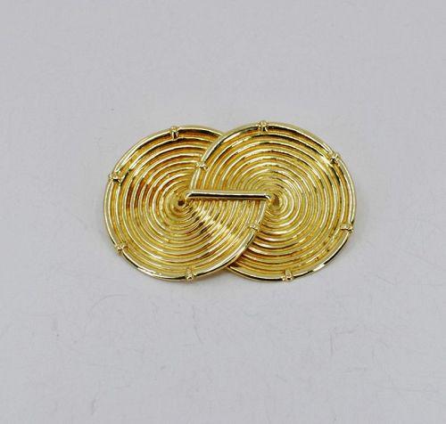 Arsenis, Greece modern swirl brooch in 18k yellow gold