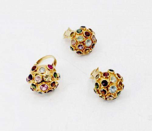 H. Stern gemstone sputnic earrings, ring set in 18k gold
