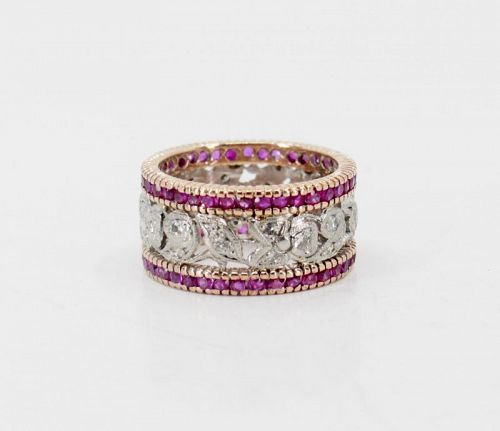 Antique ruby diamond eternity band in 14k rose and white gold