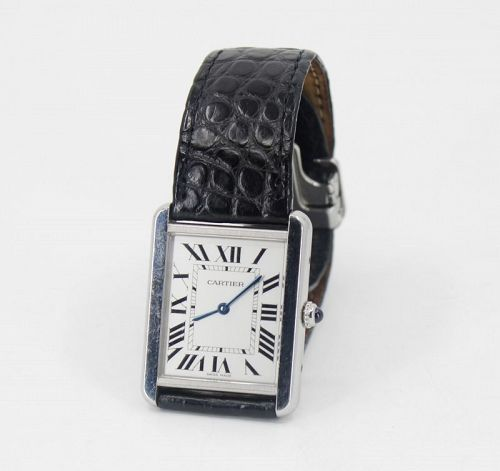 Cartier Tank Solo watch stainless steel quartz leather band