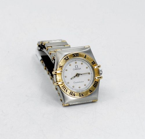 Omega Constellation stainless steel 18k gold two tone ladies watch