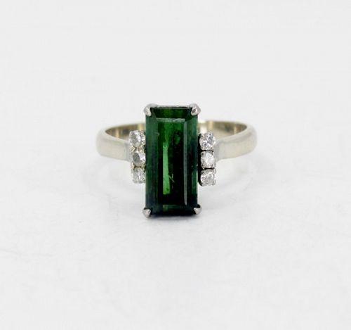 Green tourmaline diamond ring in 14k white gold