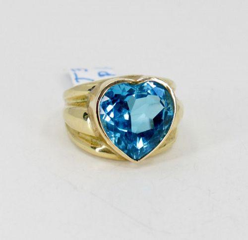 Huge, Swiss blue topaz heart ring in 14k yellow gold