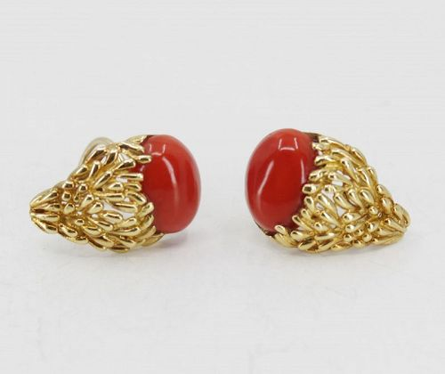 Designer, Emis Beros oxblood red coral earrings in 18k gold