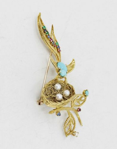 Turquoise bird and nest brooch in 18k gold signed Cherny