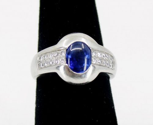 Sapphire, diamond engagement ring in 18k white gold