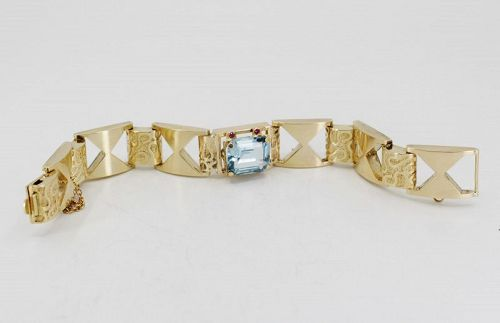 Retro, Aquamarine and Ruby bracelet in 14k yellow gold