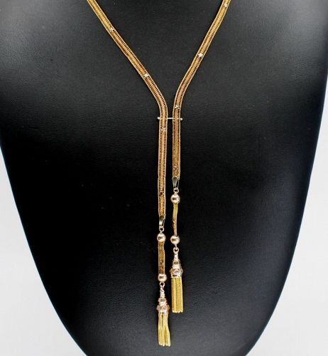 Antique, Victorian sautoir tassel necklace in 14k yellow gold