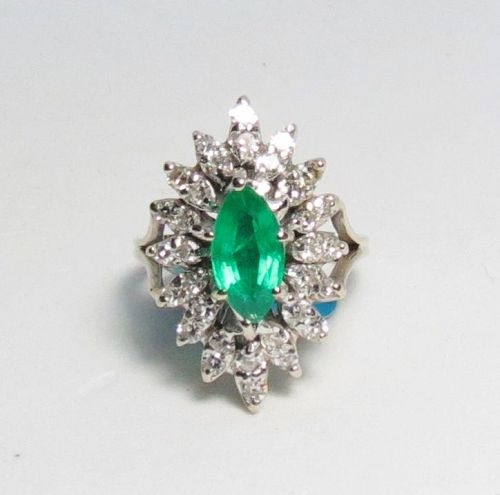 Vintage emerald diamond engagement ring in 14k white gold