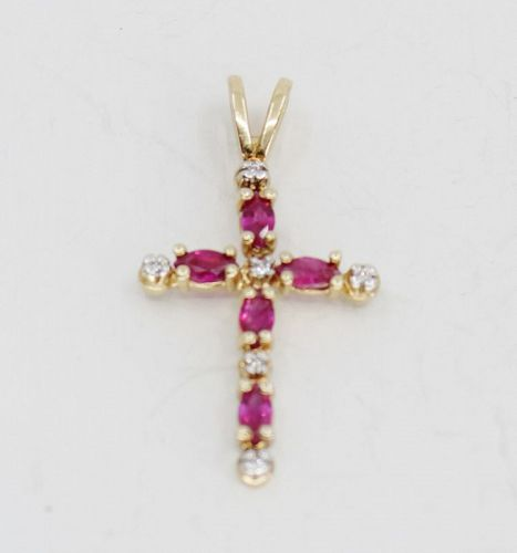 Diamond and Ruby cross pendant in 14k gold