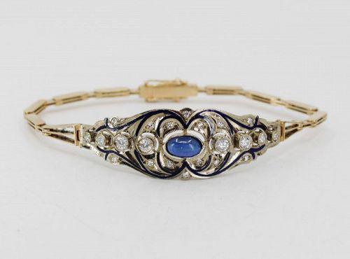 Antique Russian 14k gold sapphire diamond bracelet in original box