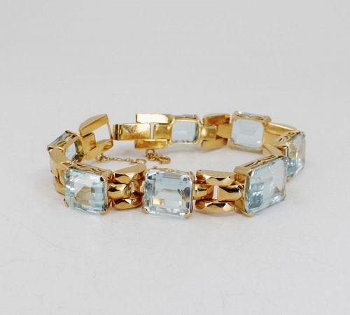 55 carat natural aquamarine bracelet in 14k yellow gold