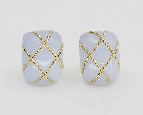Seaman Schepps Chalcedony cage earrings in 18k yellow gold