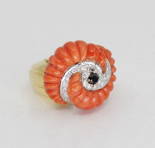 Large carved coral diamond ring in 14k yellow gold