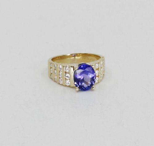2.57 carat Tanzanite diamond ring in 14k yellow gold