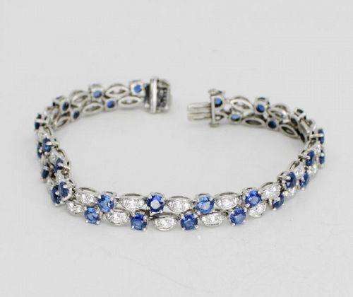 8.5 carat sapphire, 2.5ct diamond link bracelet in platinum