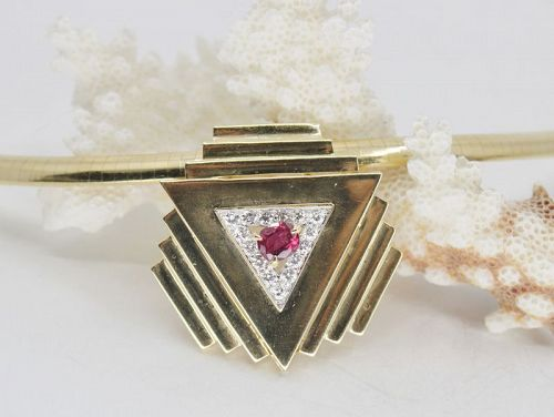 Ruby, diamond omega necklace in 18k gold signed Emis Beros