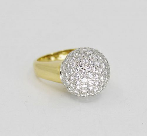 Estate 3.5ct diamond ball cocktail ring in 18k yellow gold
