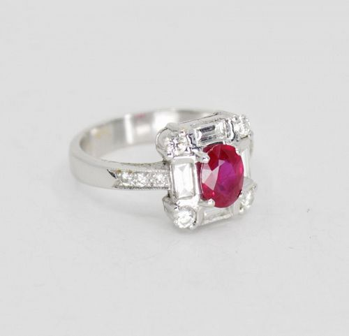 Ruby and diamond engagement ring in 18k white gold