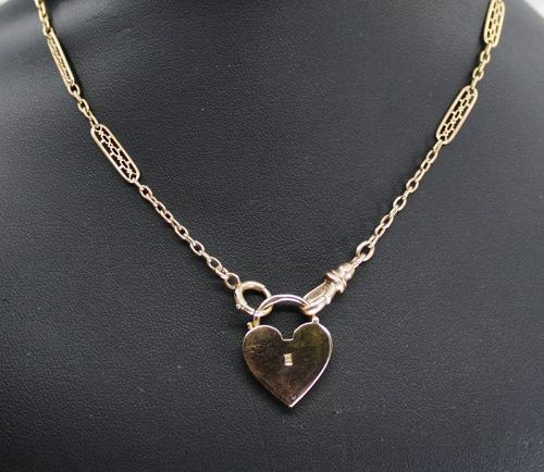 Antique 14k rose gold watch chain necklace with padlock