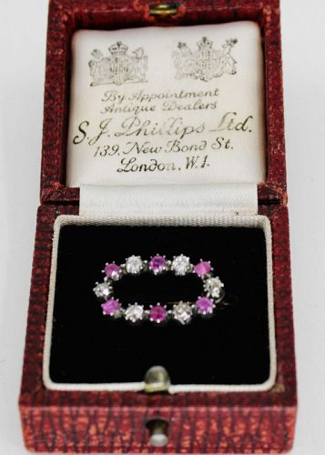 Antique ruby diamond brooch 14k gold and silver S.J.Phillips org box.
