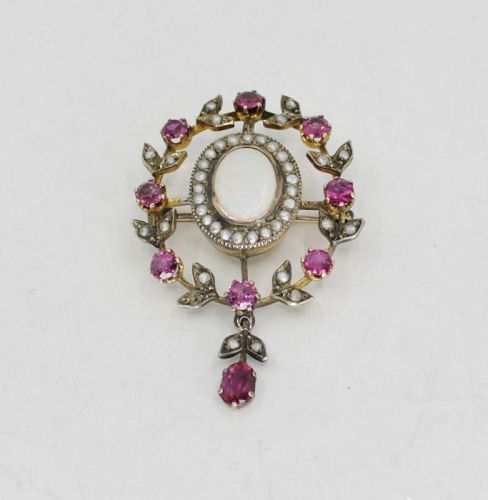 Antique, ruby, opal, seed pearls pendant, brooch in 14k gold