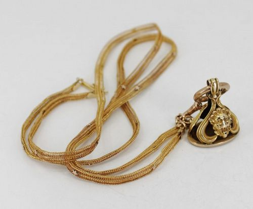 Antique, Victorian, lion fob chain necklace in 14k yellow gold