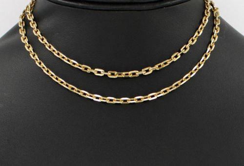 "Heavy 18k yellow gold chain link necklace 25"" long"