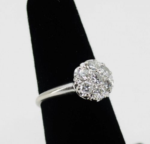 Vintage, antique diamond daisy flower engagement ring in 14k gold
