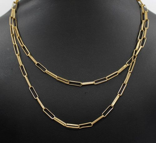 "Paperclip chain link necklace in 18k yellow gold 30"" long"