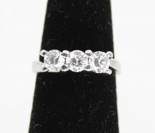 3 stone diamond anniversary ring in 18k white gold