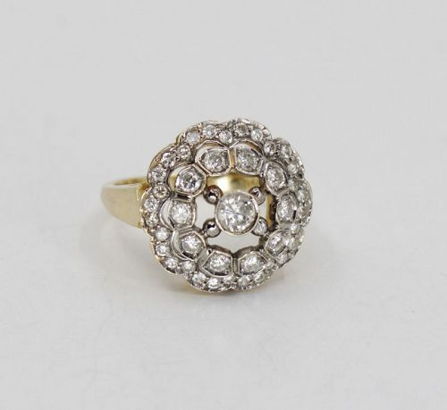 Antique, Edwardian diamond engagement ring in 14k gold