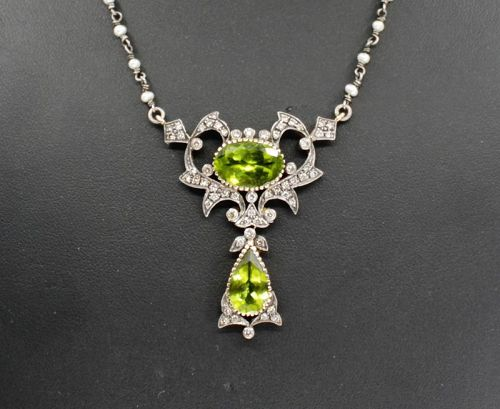 Antique, Peridot seed pearls diamond necklace 18k gold and silver