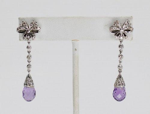 Retro Amethyst Diamond dangle earrings in 18k white gold