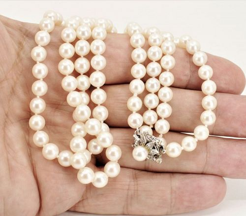 2 strand cultured pearl necklace with 14k gold diamond clasp