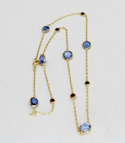 9.6 carat sapphire by the yard chain necklace in 18k gold