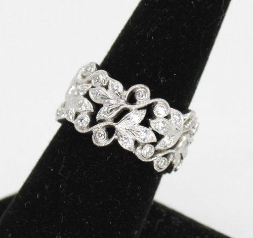 Antique ornate diamond wedding eternity band ring in 18k gold