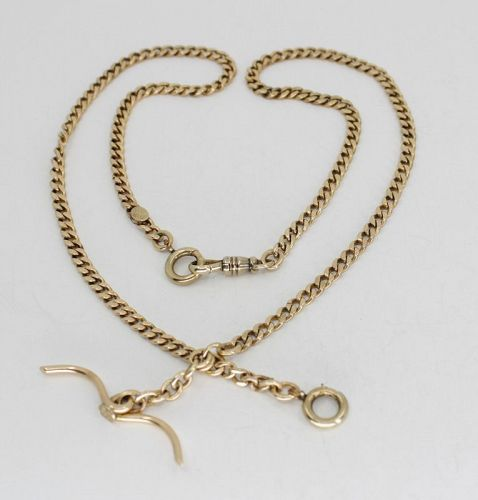 Antique solid 14k gold watch chain necklace 46.38 grams
