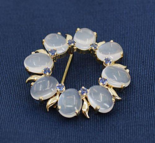 Retro moonstone sapphire brooch pin in 14k gold