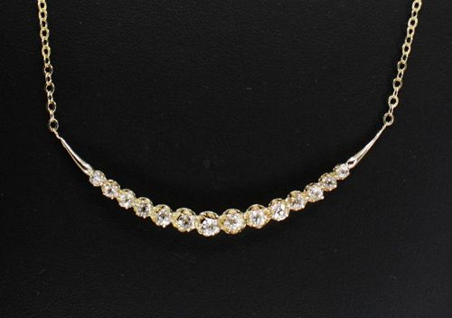 Antique diamond crescent necklace in 14k yellow gold