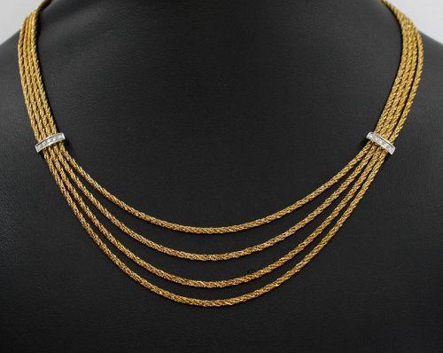 Tiffany & Co 18k gold diamonds multi-chain necklace