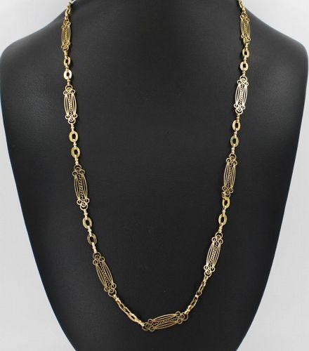 Antique Art Nouveau 15k gold ornate chain necklace