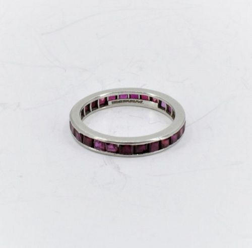 Tiffany & Co natural ruby eternity band ring in platinum
