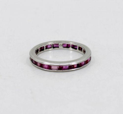 Platinum ruby eternity wedding band ring in platinum Size 6.5