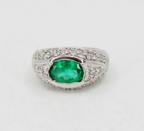 Vintage emerald diamond ring in 14k white gold