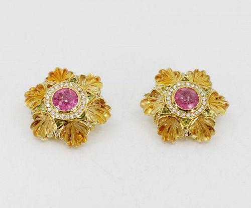 Large carved citrine diamond pink tourmaline peridot earrings 18k gold