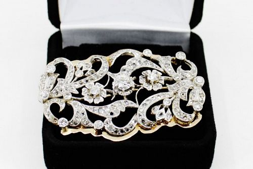 Antique old European cut diamond brooch in platinum and 14k gold