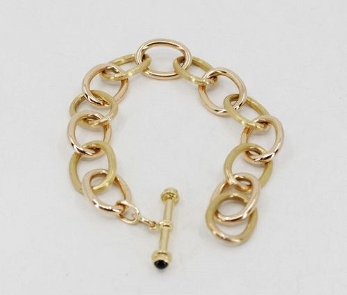 Chain link toggle bracelet in solid 18k yellow gold