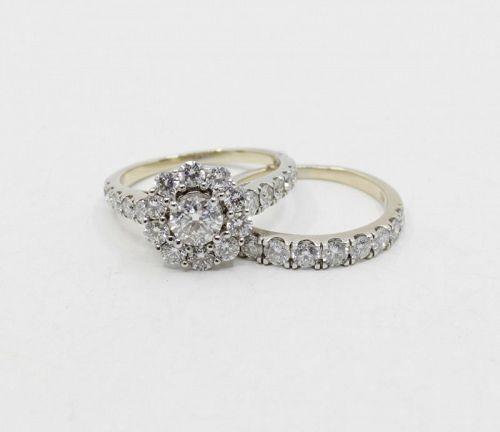 Diamond engagement, wedding ring band set 18k gold by Marchesa