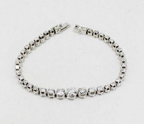 Art Deco diamond tennis link bracelet in platinum